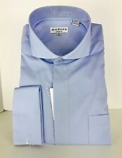 Men's Powder Blue Dress Shirt Cutaway Collar French Cuffs Modena Sizes 15.5-20