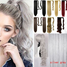 100% Real New Clip In 5% human Hair Extension Pony Tail Wrap Around Ponytail us