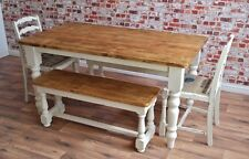 Six-Seater Rustic Farmhouse Dining Set with Benches and Ladder Back Chairs