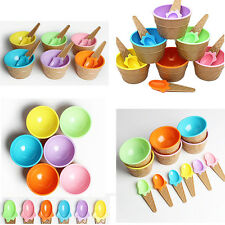 1Pcs Cup Bowl With Spoon Eco-Friendly Dessert Kids Ice Cream Couples Container