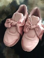 Oversized Bow Satin Skate Slip-Ons Leather Lining Pink or Green Sneakers