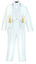 Baby Boy Christening Baptism scarf Suit 6pcs Silver gold Angel