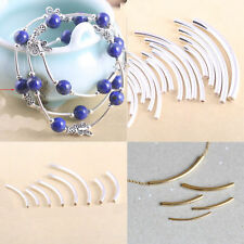 50Pc Curved Tube Spacer Beads Elbow Noodle Loose Jewelry Making Silver Gold DIY