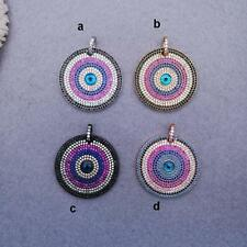 CP028 1pc 33mm Disc Pendant Micro Crystal Pave Pendant Focal Round Evil Eye bead