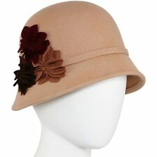 Scala Pronto Womens Wool Cloche Hat Camel Flower Wool Lana One Size NEW