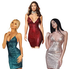 Women's Sexy Sequins Deep V-Neck Bodycon Club Cocktail Party Short Mini Dress
