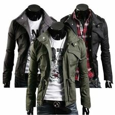 3 Colors Fashion Mens Military Slim Fit Collar Jacket Coat Zip Button M-2XL Size