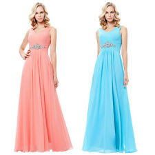 Formal Sleeveless Bridesmaid V-Neck Chiffon Ball Gown Evening Prom Party Dress