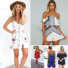 Womens Summer Holiday Sun Beach Mini Dress Jumpsuit Playsuit Romper Shorts 6-18