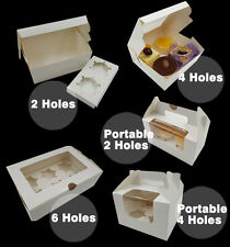 Pastry Cake Boxes Muffin CupCake Cookies Window White Box INCLUDES INSERT SAUCER