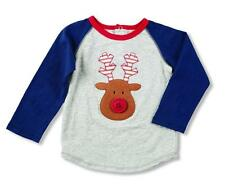 Mud Pie Boys Fair Isle Christmas Raglan Jersey T-Shirt with Reindeer Applique