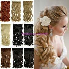 Real Thick One Piece Clip in 3/4 Full Head Hair Extensions Cosplay Hairpiece F8