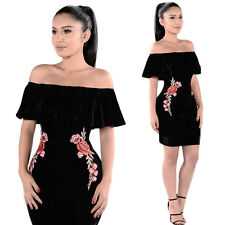 Womens Sexy Summer Off Shoulder Bodycon Evening Party Cocktail Short Mini Dress