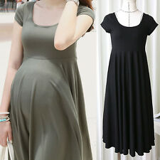 Pregnant Women Clothes Maternity Short Sleeve Casual Dress Cotton Summer Dress