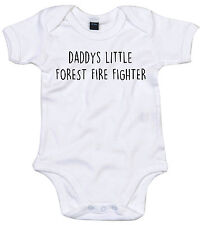 FOREST FIRE FIGHTER BODY SUIT PERSONALISED DADDYS LITTLE BABY GROW GIFT