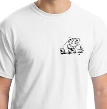 LION CUB LOOKING OVER FROM LOG WHITE T SHIRT ANIMAL GIFT BIRTHDAY