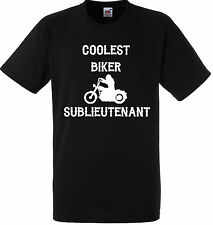 PERSONALISED COOLEST BIKER SUBLIEUTENANT T SHIRT GIFT GANG BLACK MOTORBIKE