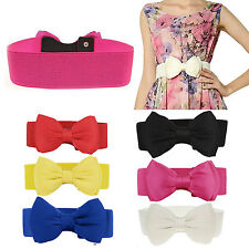 Chic Fashion Womens Bowknot Buckle Waistband Waist Belt Elastic Bow Wide Stretch