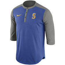 Nike MLB Authentic Collection Seattle Mariners Dri-FIT 3/4 Sleeve Henley T-Shirt