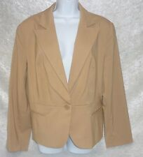 Worthington Womens Jacket Camel Solid Lined One Button Long Sleeves size 18 NEW