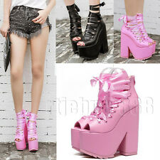 Gothic Ankle Strappy Cosplay Platform Chunky High Wedge Heels Sandals Boots Club