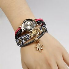 Women Watch Weave Around PU Leather Leaf Bracelet Wrist Watch CO9901