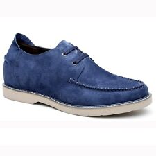 "Men's Elevator Shoes Suede Driving Boat Shoes 2.36"" Taller Lifting Shoes - Blue"