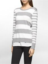 calvin klein womens striped crepe sweater