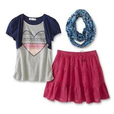 Zoey Girl 3 Pc Set Scarf Layered Look Top Skirt Heart Navy Multi size L 14 NEW