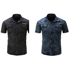 Men's Fashion Summer Short Sleeve Slim Fit Denim Button Front Lapel Shirt Exotic