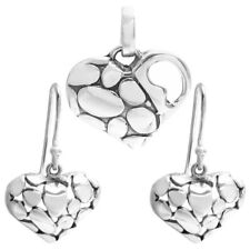 925 Sterling Silver Cobblestone Heart Pendant and Earring Set