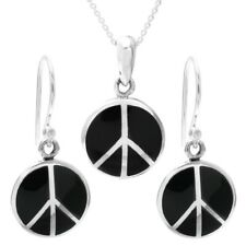 925 Sterling Silver Black Onyx Peace Symbol Pendant and Earring Set