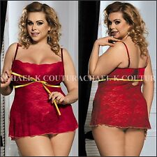 Sexy New Plus Size Ruby Red Underwired Bra Cups Babydoll 2PC G-string Lingerie