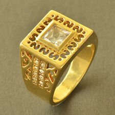 Arab Fashion 9K Yellow Gold Filled crystal Crystal Mens Ring,Size 10,Z5523