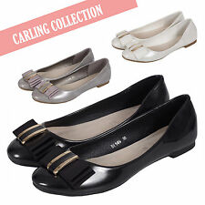 Ladies Work Office Casual Evening Ballet Dolly Flats Pumps Ballerinas Bow Shoes