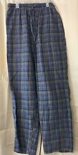 Mens Staffod Flannel Pajama pants S or M heather grey blue plaid cotton flannel