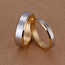 Women Men Forever Love Band Ring Engagement Engraving Couple Gold Plated Mystic