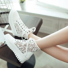 New Womens Mesh Lace up Low Wedge Heel Round Toe Sweet Shoes Casual Ladies Shoes