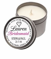 Personalised Candle Tin Wedding Favour Bridesmaid Thank you Gift Present