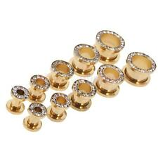 MagiDeal Crystal Stainless Steel Screw Ear Tunnels Plugs Stretchers-Ear Gauges