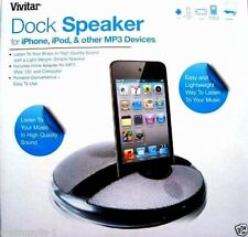 VIVITAR DOCK SPEAKER,iPHONE,iPOD,MP3 PORTABLE DESKTOP SPEAKER SYSTEM,SILVER,NEW