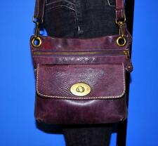 Vtg ROOTS Purple Pocketbook Tribe Leather Satchel Messenger CrossBody Purse Bag