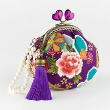 Collectable #0099 - Handmade Purple Japanese Peone Floral Coin Purse Clutch