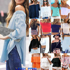 Women Sexy Off Shoulder T-Shirt Loose Top Blouse Ladies Summer Shirts Casual Tee