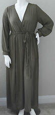 K Glam Semi Sheer Faux Wrap Maxi Dress - Olive Green - Plus 1XL & 3XL - New!