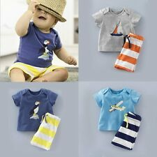 2PCS Cotton Baby Kid Toddler Boys Short Sleeve T-shirt+Shorts Summer Outfits