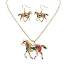 Horse Charm Pendant Silver Golden Necklace Enamel Matching Earrings Jewelry Sets
