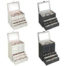 Beautify Faux Leather 5 or 8 Tier Snake Skin Print Jewellery Drawers Box Case