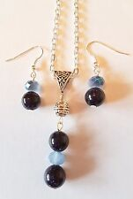 """blue goldstone heart gemstone necklace and earrings set silver plated 20"""" chain"""
