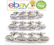 Shiny Silver Oval Mens Wedding Cufflinks Cuff Links Best Man Groom & Usher Gift
